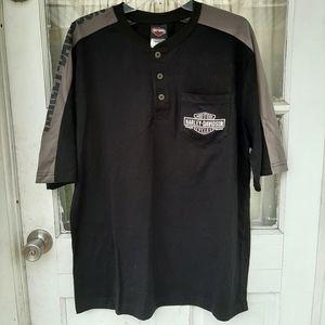 Harley Davidson Mens Black Short Sleeve Shirt Sz L